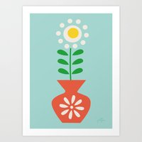Art Print featuring Retro Vase Orange  by Jolijou