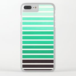 Teal Turquoise Minimalist Abstract 15 Stripes Watercolor Gradient Clear iPhone Case