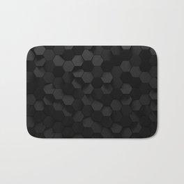 Black abstract hexagon pattern Bath Mat