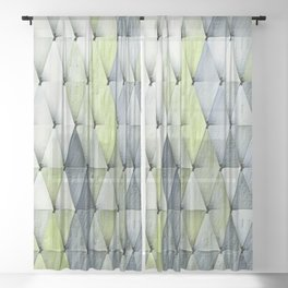 Textured Triangles Lime Gray Sheer Curtain