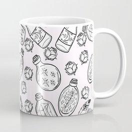 Magic bottles pattern on light pink background Coffee Mug