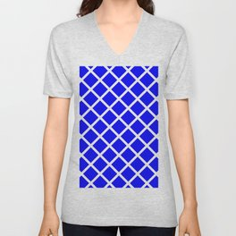 Criss-Cross (White & Blue Pattern) Unisex V-Neck