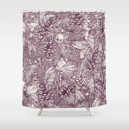 forest floor berry ivory Shower Curtain