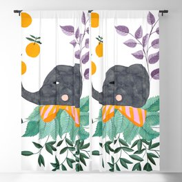 elephant with oranges and leaves watercolor illustration Blackout Curtain
