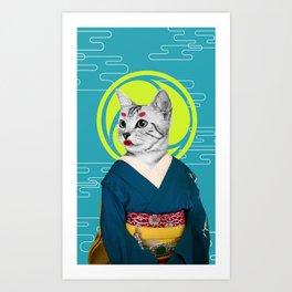 Geisha Cat Art Print