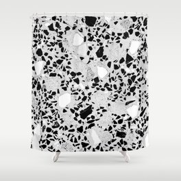 Real Terrazzo Stone Marble Concrete Mix Pattern Shower Curtain