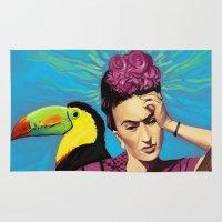 frida kahlo Area & Throw Rugs featuring Frida Kahlo by Brad Collins Art & Illustration