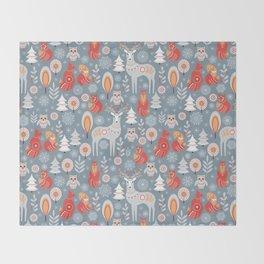 Fairy forest, deer, owls, foxes. Decorative pattern in Scandinavian style. Folk art. Throw Blanket