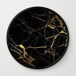 Black and Gold Marble Wall Clock