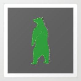 Papa bear in the dark - green Art Print