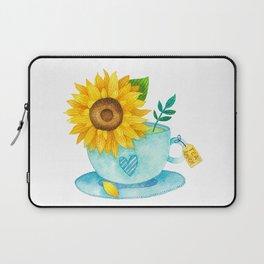 Sunflower Cup of Tea Laptop Sleeve