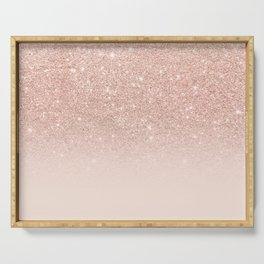 Rose gold faux glitter pink ombre color block Serving Tray