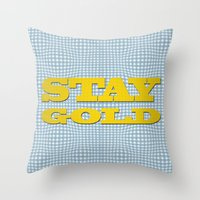 stay gold Throw Pillows featuring Stay Gold by abominable