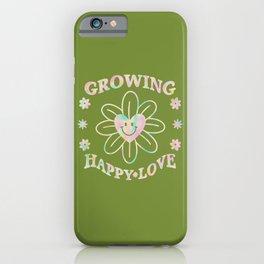 Flower Heart Retro 70s Tie Dye Rainbow Happy Love iPhone Case