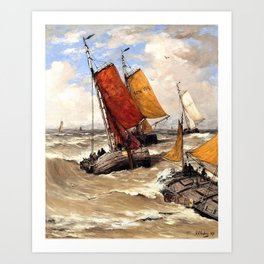 Hendrik Willem Mesdag - Back from the fishing trip - Digital Remastered Edition Art Print