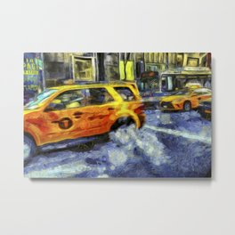 New York Taxis Art Metal Print