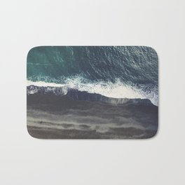 Arctic Ocean - Volcano black sand beach and foam Bath Mat