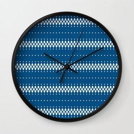 Classic blue white ethnic boho pattern Wall Clock
