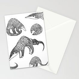 Animal Pattern, Pangolin, Manis, Monochrome Art, Black and white, Animals lovers gifts, Vets and pet Stationery Cards