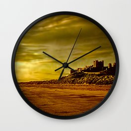 Golden Bamburgh Morning Wall Clock