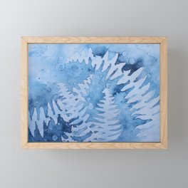 Blue ferns Framed Mini Art Print