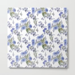 Watercolor floral pattern . 12 Metal Print