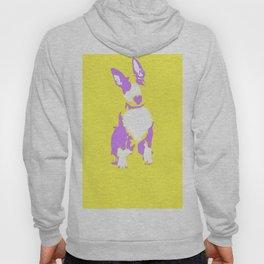 Puppy in yellow purple and white art print Hoody