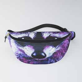 raccoon watercolor splatters blue purple Fanny Pack