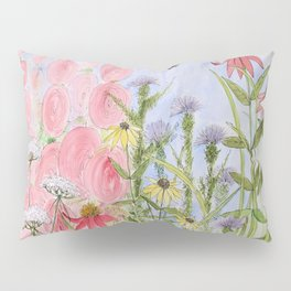 Botanical Floral Watercolor Pink Blue Yellow Flowers Blue Skies Pillow Sham