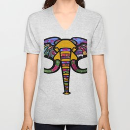 Retrocultural elephant head Unisex V-Neck