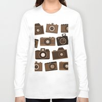 cameras Long Sleeve T-shirts featuring cameras (white) by vitamin