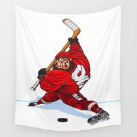 hockey Wall Tapestries featuring The Hockey Center Back by Don Kuing