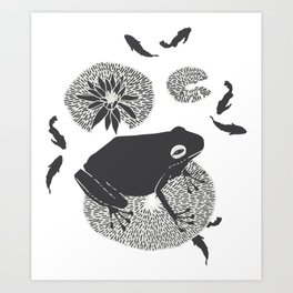 Frog on a Lily Pad No Colour Art Print