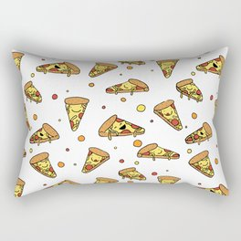 Cute Smiling Happy Pizza Pattern on white background Rectangular Pillow