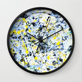 Abstract in Blue, Yellow and Black Wall Clock