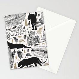 Wild Cats and Botanicals Stationery Cards