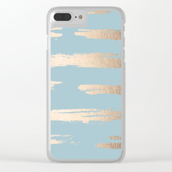Abstract Paint Stripes Gold Tropical Ocean Sea Blue Clear iPhone Case