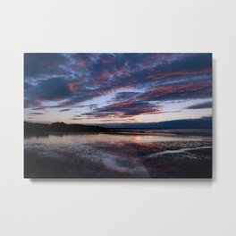 red sky reflecting on the sand Metal Print
