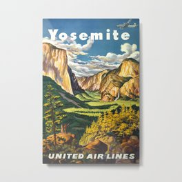 Yosemite, United Air Lines - Vintage Travel Poster Metal Print