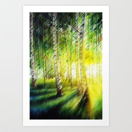 White Birch Forest at Sunset Landscape Painting Art Print