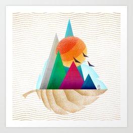 073 - Autumn leaf minimal landscape I Art Print