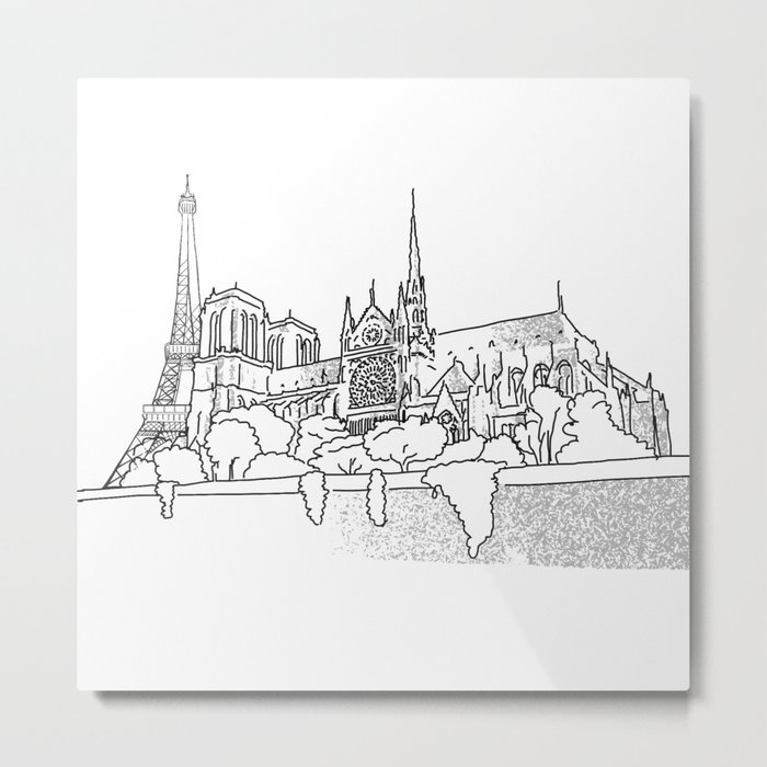 Notre Dame and Eiffel Tower travel scene Metal Print