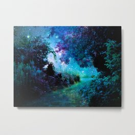 Fantasy Garden Path Teal Purple Metal Print