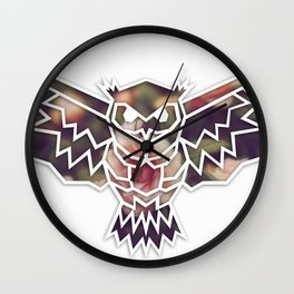Vintage Owl Roses (White Lines) Wall Clock