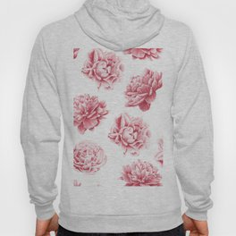 Pink Rose Garden on White Hoody