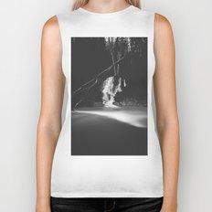 Minimalistic black and white waterfall Biker Tank