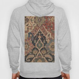 Geometric Leaves I // 18th Century Distressed Red Blue Green Colorful Ornate Accent Rug Pattern Hoody