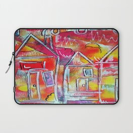 Orange Neon Houses Laptop Sleeve