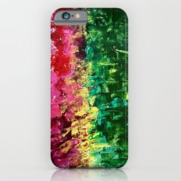 Abstract painting rose and green iPhone Case