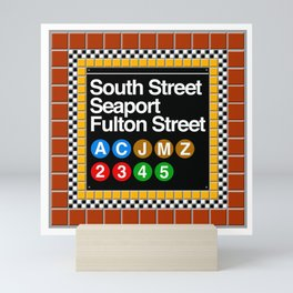 subway south street seaport sign Mini Art Print